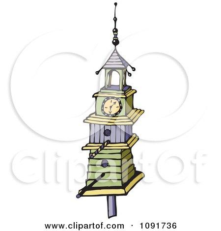 Clipart Tall Clock Tower Bird House - Royalty Free Vector Illustration by Steve Klinkel