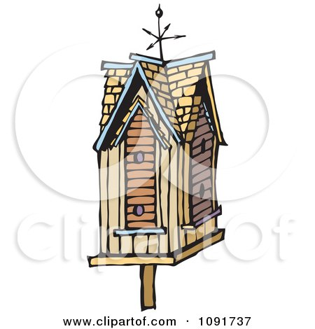 Clipart Weather Vane On A Bird House - Royalty Free Vector Illustration by Steve Klinkel