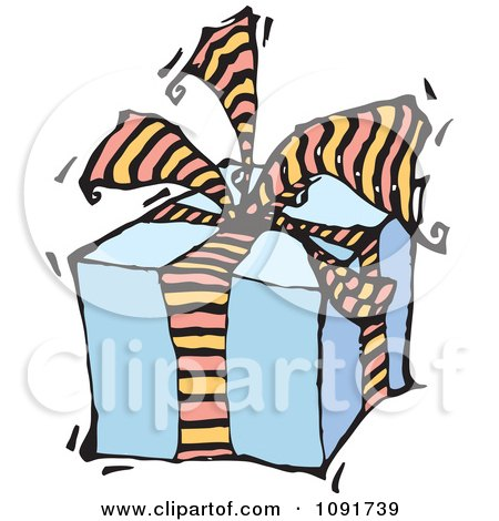 Clipart Blue Gift Box With Striped Ribbons And Bow - Royalty Free Vector Illustration by Steve Klinkel