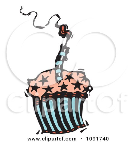 Clipart Starry Birthday Cupcake With A Smoking Candle - Royalty Free Vector Illustration by Steve Klinkel