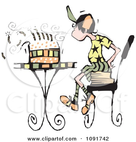 Clipart Boy Sitting On Books And Blowing Out The Candles On His Birthday Cake - Royalty Free Vector Illustration by Steve Klinkel