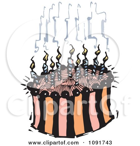 Clipart Striped Birthday Cake With Smoking Candles - Royalty Free Vector Illustration by Steve Klinkel