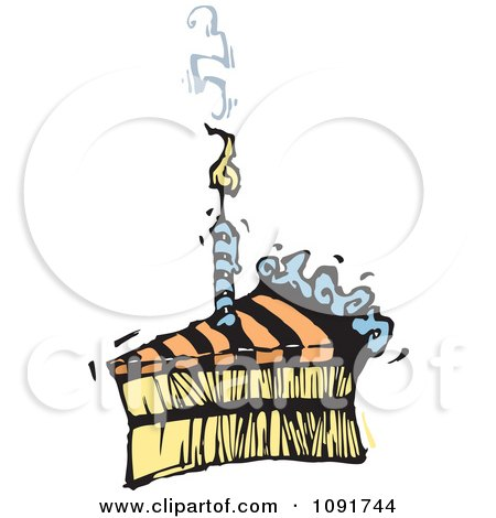 Clipart Striped Birthday Cake Slice With A Smoking Candle - Royalty Free Vector Illustration by Steve Klinkel