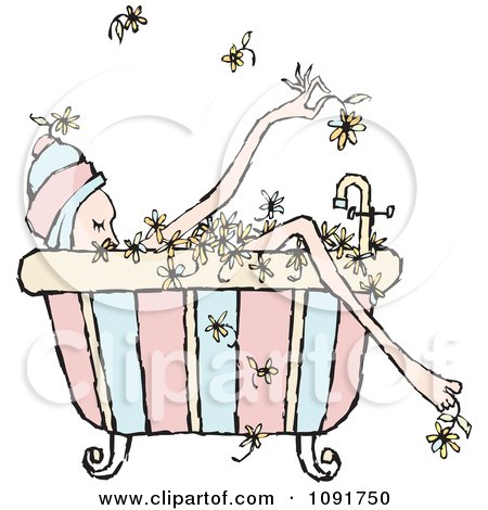 Relaxed Woman Soaking In A Floral Bath Posters, Art Prints