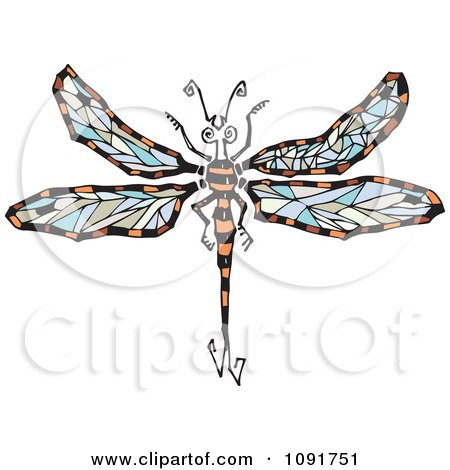 Clipart Dragonfly With Colorful Wings - Royalty Free Vector Illustration by Steve Klinkel