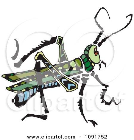 Clipart Green Grasshopper - Royalty Free Vector Illustration by Steve Klinkel