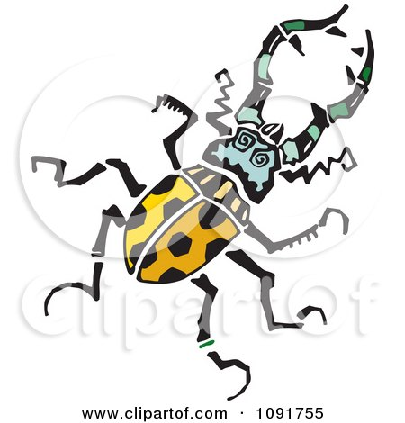 Clipart Yellow Beetle With Spots - Royalty Free Vector Illustration by Steve Klinkel