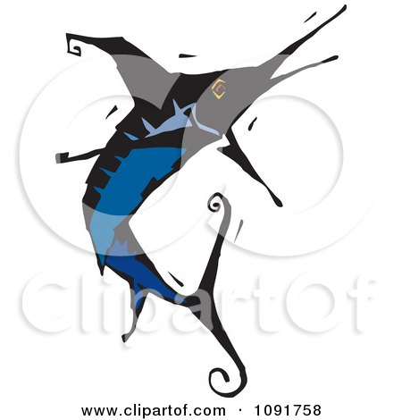 Clipart Leaping Blue Marlin - Royalty Free Vector Illustration by Steve Klinkel