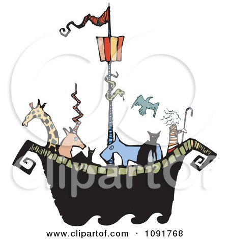 Clipart Animals And Noah On An Ark - Royalty Free Vector Illustration by Steve Klinkel