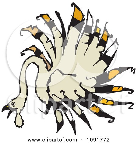 Clipart Turkey Bird With Radial Feathers - Royalty Free Vector Illustration by Steve Klinkel
