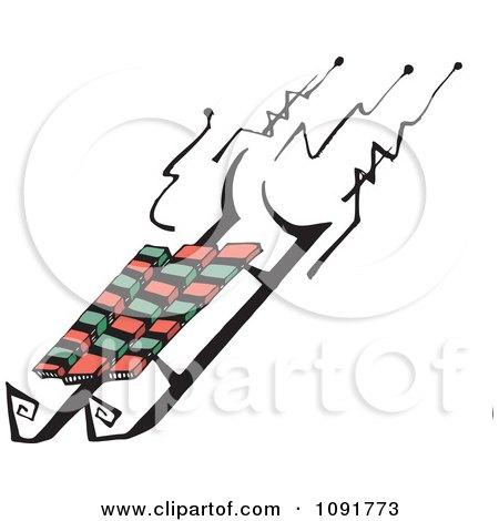 Clipart Winter Sled - Royalty Free Vector Illustration by Steve Klinkel