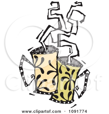 Clipart Two Mugs With Steam Rising - Royalty Free Vector Illustration by Steve Klinkel