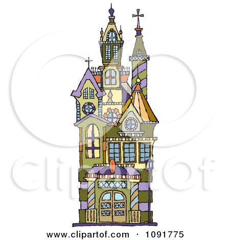 Clipart Victorian Building With Towers - Royalty Free Vector Illustration by Steve Klinkel