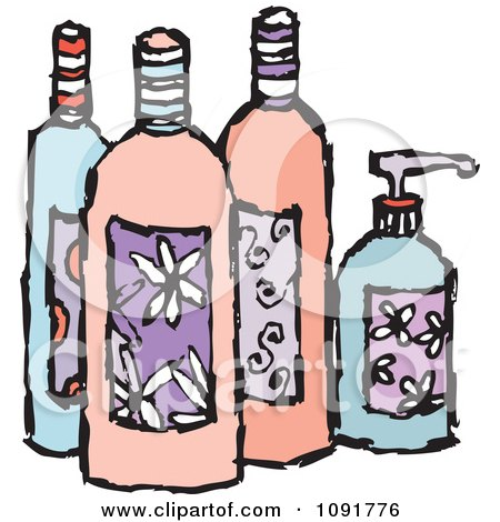Clipart Feminine Beauty Product Lotion And Soap Bottles - Royalty Free Vector Illustration by Steve Klinkel