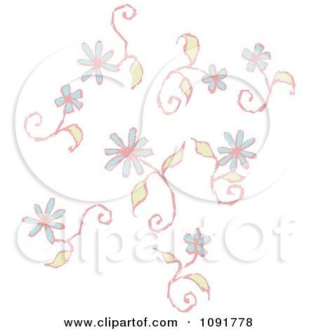 Clipart Blue Flower Swirls - Royalty Free Vector Illustration by Steve Klinkel
