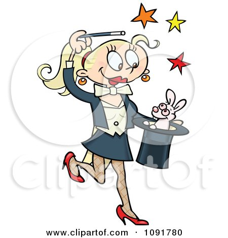 Blond Female Magician Performing The Rabbit In The Hat Trick Posters, Art Prints