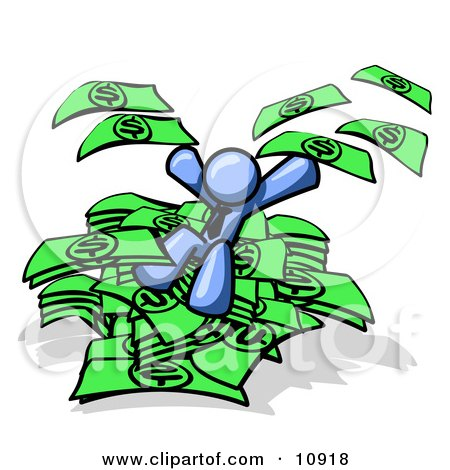 Blue Business Man Jumping in a Pile of Money and Throwing Cash Into the Air Clipart Illustration by Leo Blanchette