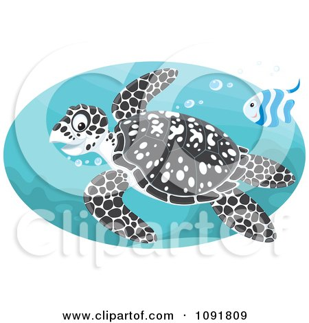 Clipart Black Spotted Sea Turtle And Fish Swimming - Royalty Free Vector Illustration by Alex Bannykh