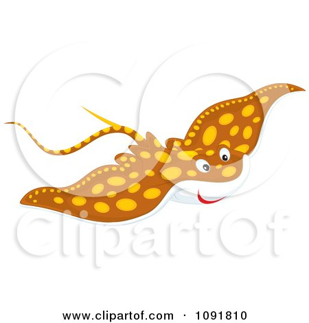 Clipart Spotted Brown Manta Ray - Royalty Free Vector Illustration by Alex Bannykh