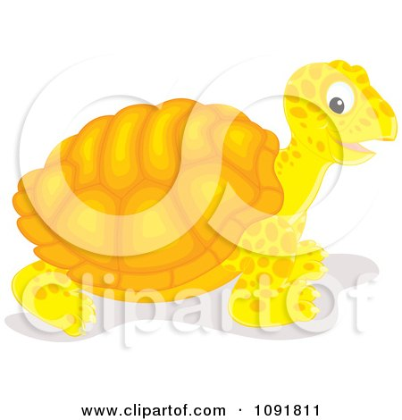 Clipart Yellow And Orange Tortoise - Royalty Free Vector Illustration by Alex Bannykh