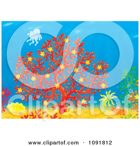 Clipart Seascape With A Shrimp Red Coral And Jellyfish - Royalty Free Illustration by Alex Bannykh