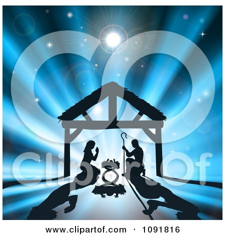 Silhouetted Nativity Scene Of Baby Jesus In The Manger The Virgin Mary And Joseph Against Rays Posters, Art Prints