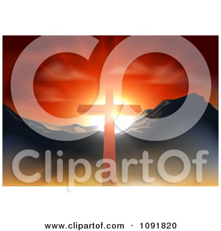 Christian Crucifix Against A Sunset And Mountains Posters, Art Prints