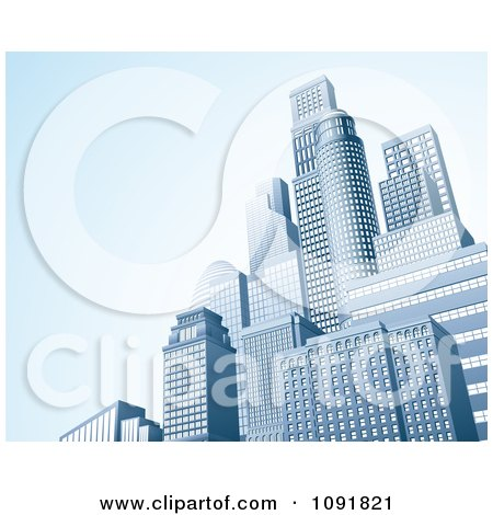 Clipart 3d Urban Office Skyskrapers With Blue Copyspace - Royalty Free Vector Illustration by AtStockIllustration