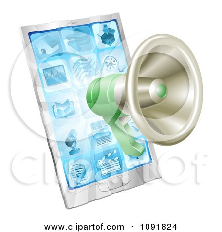 Clipart 3d Green Megaphone Over A Cell Phone - Royalty Free Vector Illustration by AtStockIllustration