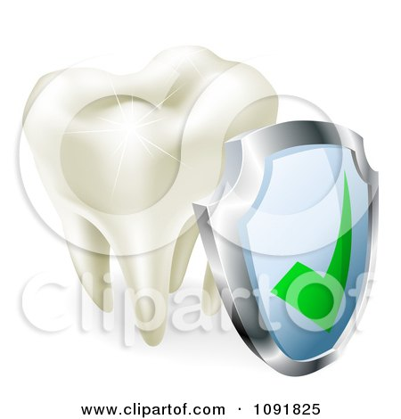 Clipart 3d Molar Tooth Sparkling With A Protection Shield - Royalty Free Vector Illustration by AtStockIllustration