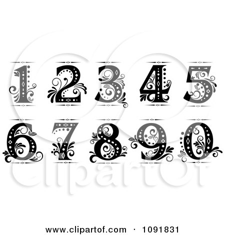 Ornate Black And White Old Fashioned Numbers Posters, Art Prints