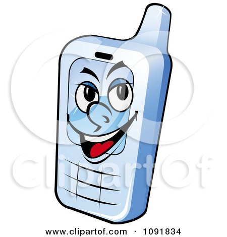 Clipart Grinning Blue Cell Phone - Royalty Free Vector Illustration by Vector Tradition SM