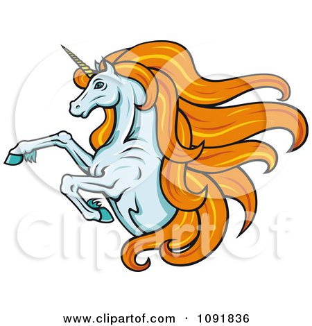 Clipart Leaping Unicorn With Long Orange Hair - Royalty Free Vector Illustration by Vector Tradition SM