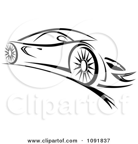 Clipart Black And White Sleek Sports Car - Royalty Free Vector Illustration by Vector Tradition SM