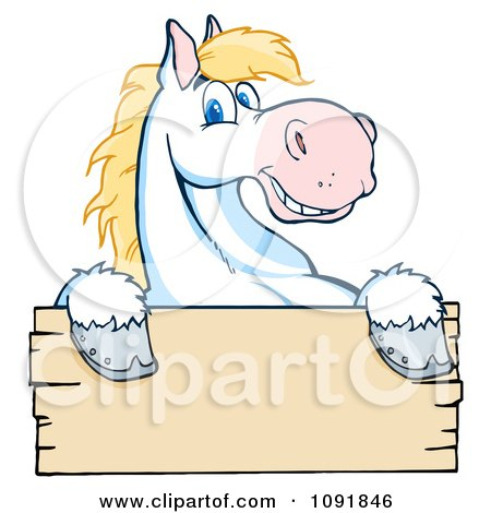 Clipart Happy White And Blond Horse Over A Wooden Sign - Royalty Free Vector Illustration by Hit Toon