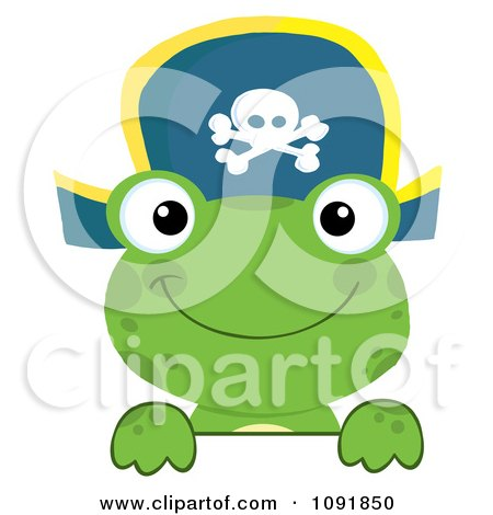 Clipart Green Frog Pirate Looking Over A Surface - Royalty Free Vector Illustration by Hit Toon