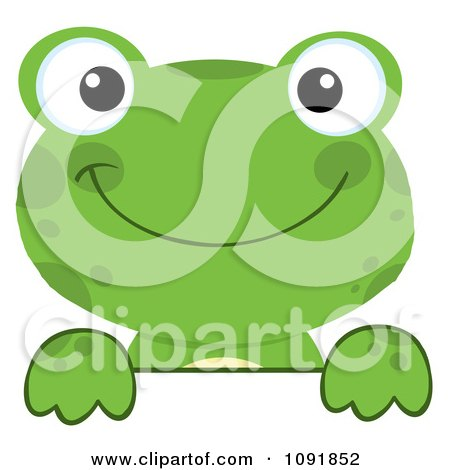Clipart Green Frog Looking Over A Surface - Royalty Free Vector Illustration by Hit Toon