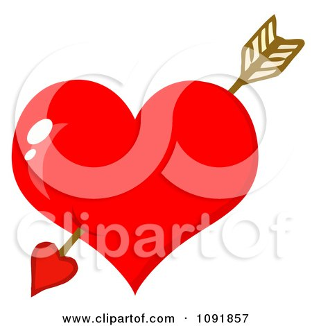 Clipart Cupids Arrow Through A Shiny Red Valentine Heart - Royalty Free Vector Illustration by Hit Toon