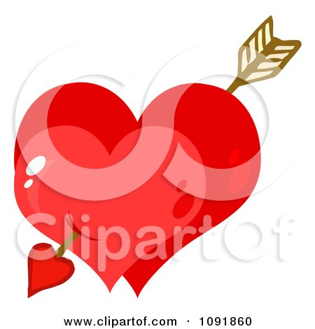 Clipart Cupids Arrow Through Two Shiny Red Valentine Hearts - Royalty Free Vector Illustration by Hit Toon