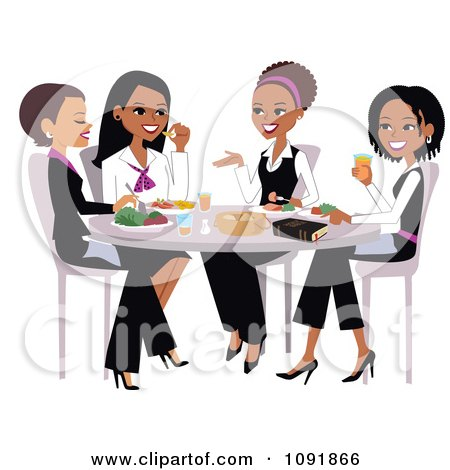 Clipart Christian Women Talking And Eating Lunch With A Bible On The Table - Royalty Free Vector Illustration by Monica