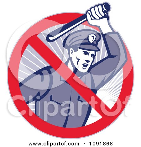 Clipart Retro Brutal Police Officer And Prohibited Symbol - Royalty Free Vector Illustration by patrimonio
