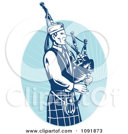 Clipart Retro Blue Bagpipe Player - Royalty Free Vector Illustration by patrimonio
