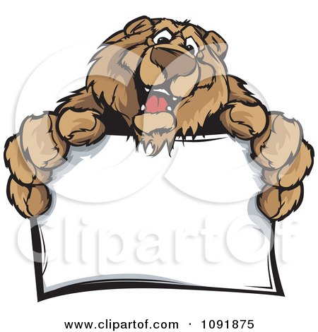 Clipart Friendly Bear Holding Out A Blank Sign - Royalty Free Vector Illustration by Chromaco