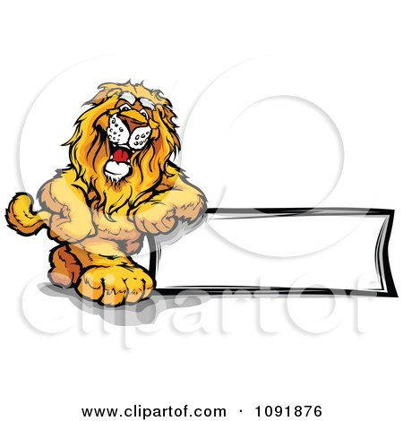 Clipart Friendly Lion Leaning On A Blank Sign - Royalty Free Vector Illustration by Chromaco
