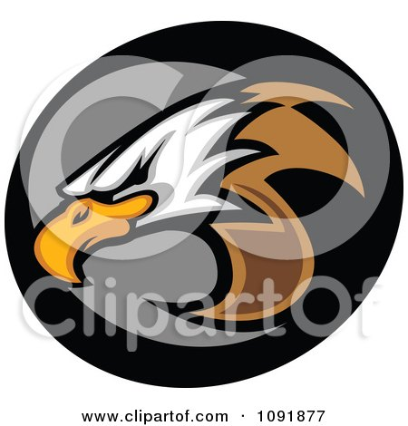 Clipart Bald Eagle Mascot Head And Gray And Black Circle - Royalty Free Vector Illustration by Chromaco