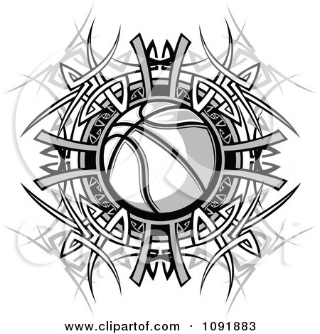 Clipart Black And White Basketball And Tribal Designs - Royalty Free Vector Illustration by Chromaco