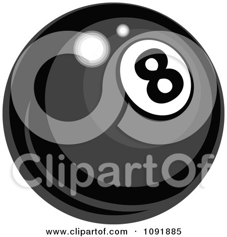 Clipart Shiny Billiards Pool Eight Ball - Royalty Free Vector Illustration by Chromaco