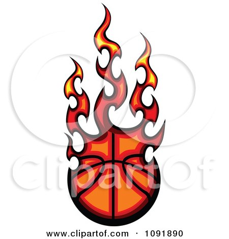 Clipart Fire Engulfed Basketball - Royalty Free Vector Illustration by Chromaco