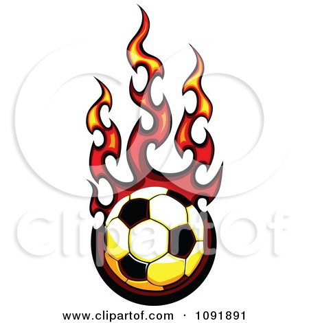 Clipart Fire Engulfed Soccer Ball - Royalty Free Vector Illustration by Chromaco