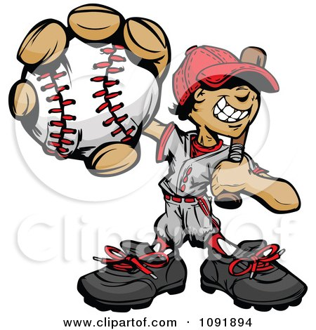 Clipart Baseball Boy Holding Out A Ball And Resting A Bat On His Shoulder - Royalty Free Vector Illustration by Chromaco